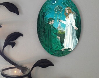 Beltane Grove, Fantasy Oval Tile Wall Hanging by Mickie Mueller