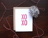 XOXO Hugs and Kisses Letterpress Greeting Card - blank inside with a kraft paper envelope