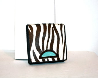 CHRISTIAN DIOR Vintage Wallet Zebra Pony Hair Coin Purse - AUTHENTIC -