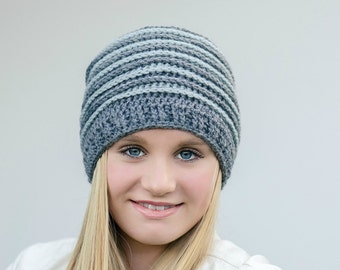 Unisex Ribbed Beanie crochet hat pattern using DK weight US