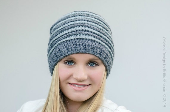 Crochet Beanie Pattern Ribbed : Ribbed Beanie crochet hat pattern No.306 using Double