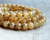 6mm opal champagne linen round beads with silverish picasso finish,  (25) beads per strand - KT73