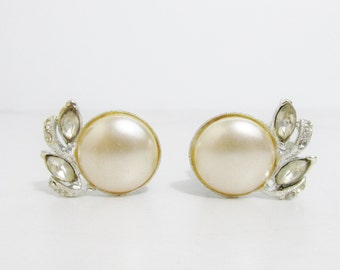 Vintage Earrings: Rhinestones with Pearl Cabochon Clip Ons