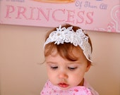 White christening vintage lace headband with small rhinestones for baby girls. Also available in cream lace.