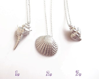 Silver Seashell Necklace, Seashell Jewelry, 3D Shell Necklace, Beach Nautical Jewelry