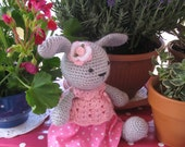 Rose Bunny      Most adorable  Handmade crochet amigurumi bunny doll