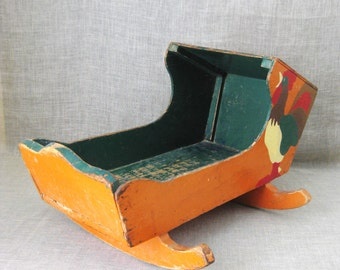 Antique Folk Art Doll Cradle, Furniture, Handmade, Primitive Wooden Toy, Rooster, Hand Painted, Antique Toys, Baby Crib, Wood, Rustic Decor