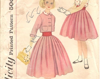 1950s Girls Skirt Blouse and Jacket - Vintage Simplicity 2431 - Size 10