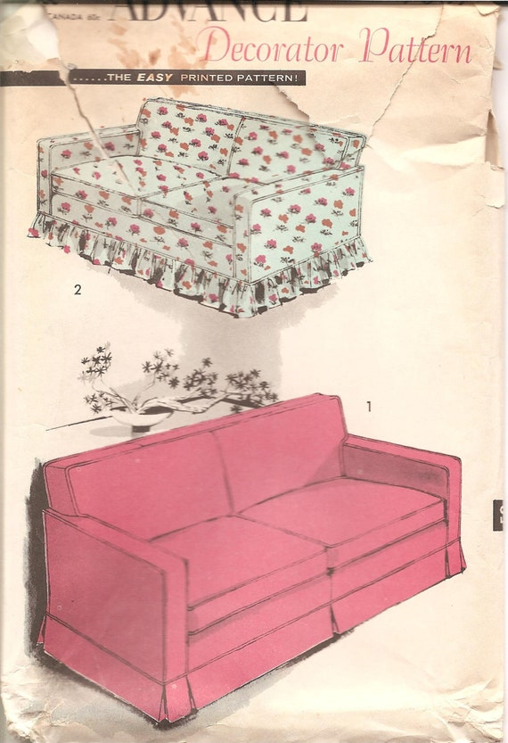 Items Similar To 1950s Slipcover Sofa Cover Pattern Vintage Advance 7607 Sofa Bed Cover Ff