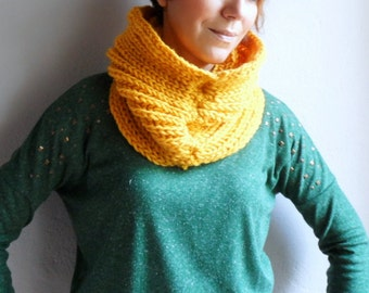 Loop Scarf, Chunky Scarf, Knit Cowl Hood Scarf in Mustard Yellow Scarf,Spring Fashion