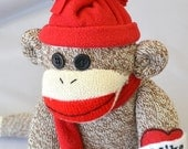 Personalized Sock Monkey with Removable Hat and Scarf - Custom Name on Heart Choose your Colors, Soft Toy
