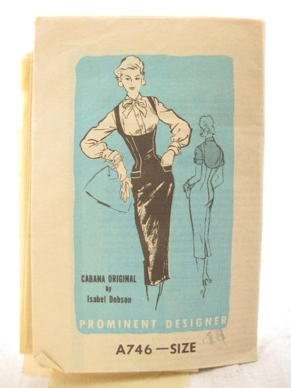 Rare Mail Order A746 Isabel Dobson Cabana Original 1960s Sheath Dress Mad Men Vintage Sewing PatternBust 36
