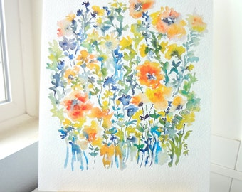 From the Garden No.7, Watercolor Flowers Fine Art Print, 8x10, 11x14, Watercolor Floral Decor