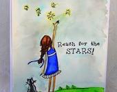 Girl & Cat Watercolor Handmade Encouragement Card