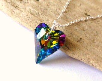 Rainbow Crystal Heart Necklace, Swarovski Prism Heart Pendant, Wire Wrapped Pendant Necklace, Sterling Silver, Summer Fashion, Gift for Her