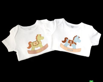 Personalized Rocking Horse baby onesies - great gifts for twins newborn babies baby shower for boys girls