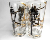 Retro Black And 24k Gold  Street Lamp Pattern Glassware Set of 5