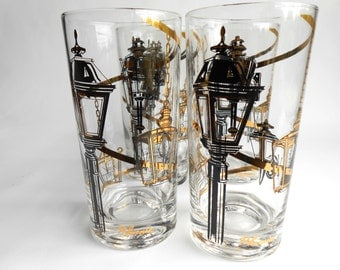 Retro Black And 24k Gold  Street Lamp Pattern Glassware Set of 5