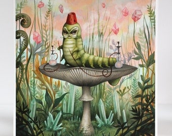 The Hookah Smoking Caterpillar - Limited Edition Alice in Wonderland signed numbered 8x10 pop surrealism Fine Art Print by Mab Graves