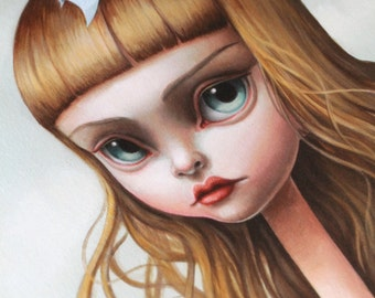 Alice, Serpent! - Limited Edition Alice in Wonderland signed numbered 11.5 x 23 pop surrealism Fine Art Print by Mab Graves