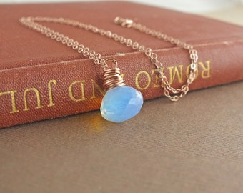 Rose Gold Necklace, Fire Opal Necklace, Rose Gold Jewelry, October Birthstone, October Birthday, Opal Necklace, Opal Jewelry, Opal