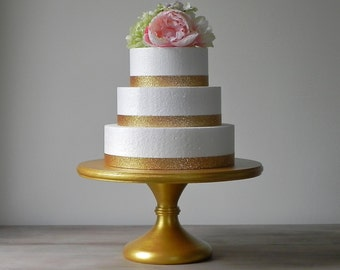 "Gold Cake Stand 16"" Wedding Cake Stand Pedestal Cake Stand Gold Cake Topper Gold Decor E. Isabella Designs Featured Martha Stewart Weddings"