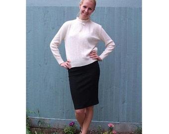 Vintage, Knit Sweater Blouse - White Preppy Knit Top