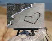 Beach Theme Heart Photo on Small Black Wood Easel, romantic gift, wedding, girlfriend gift, coastal décor, word art, Valentines Day, heart