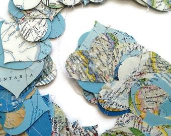 Horizontal Map Paper Heart Garland - Choose the Length  - Handmade Party Supplies - Classroom - Travel Party - Going Away - Nat Geo Atlas