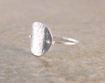 Silver Circle Shield Ring Textured or Om Ohm Bohemian Ring in Aluminum Made to Order