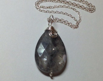 """Smokey Quartz Crystal Wrapped in Sterling Silver 1.75"""" Long .75""""  Wide on 18"""" Sterling Silver Chain OOAK Previously 34 Dollars ON SALE"""