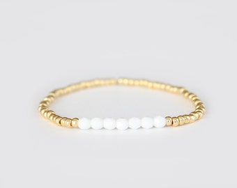 Snowy White and Gold Beaded Bracelet - Navi