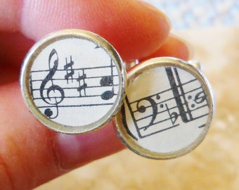 Sheet Music Cufflinks: Mens Music Jewelry, Vintage Music Gifts - Him Man Boyfriend Musician, Musical Notes, Music Lover, OOAK, READY To SHIP
