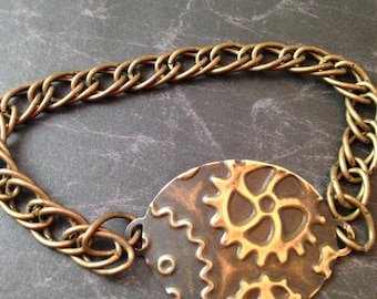 Embossed Gears on Brass Steampunk Bracelet
