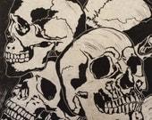 Skulls - Original Linocut  (White, Red or Black)