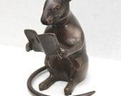 vintage studious rodent bronze figurine // metal statue // rat - mouse