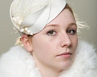 Bride Ivory  Hat  Head Piece Millinery Beret Winter Wedding