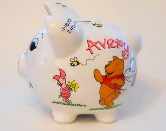 Personalized Piggy Bank with Winnie the Pooh, Piglet, Eeyore Balloons and Bees