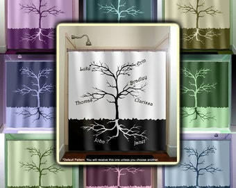 Custom Names Root Family Tree Shower Curtain Fabric Extra Long Window Panel Kids Bathroom