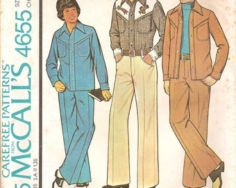 Vintage 70s Sewing Pattern -Country Western Shirt Jacket Jeans Pants - McCalls 4655 -Cowboy Cowgirl Child's Size 7 UNCUT