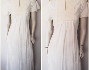 Vtg.70s Ecru Cream Lace Cotton Maxi Hostess Dress.S.Bust 36.Waist up to 38.