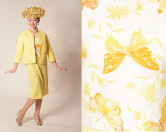 Vintage 1960s Yellow Suit - Butterfly Spring Fashions - Extra Small XS