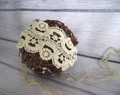 Newborn cotton lace headwrap in vintage style