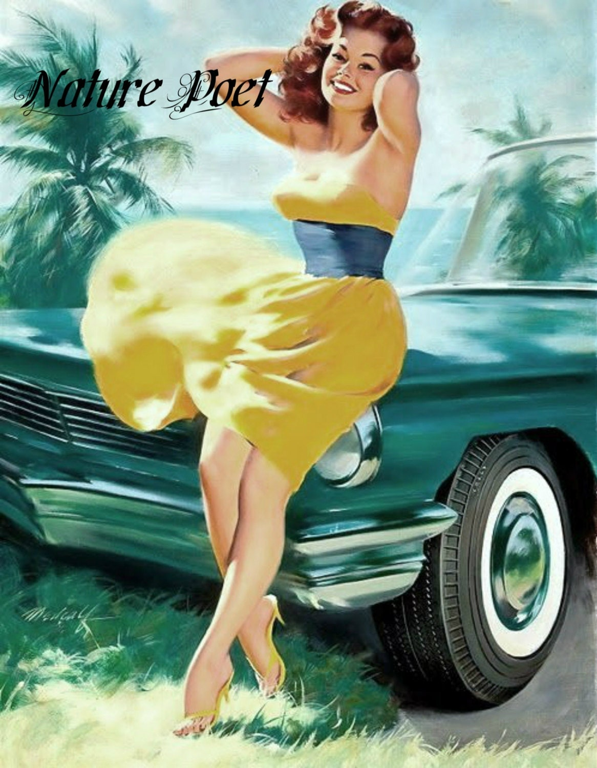 1950s pin up girl and car reproduction art by naturepoet on etsy. Black Bedroom Furniture Sets. Home Design Ideas