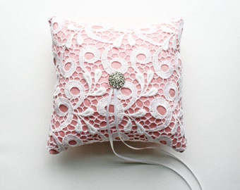 Pink Ring Pillow, Lace Ring Pillow, Ring Cushion, Ring Bearer Pillow