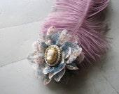 Flower hair clip | blue lace | vintage cameo | ostrich feather | purple