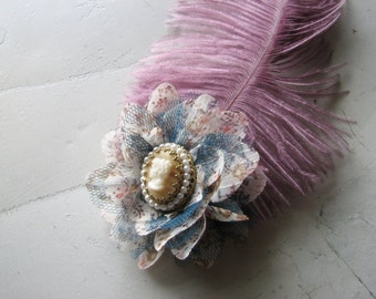 Flower hair clip | blue lace | vintage cameo | ostrich feather | purple