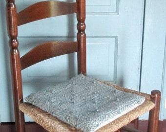 Rustic Chair Seat Cushion Bench Pad Flat Lumbar Pillow Thin Back Support, Country Home Decor Farmhouse Decor Woven Blue Gray Wool Cushion