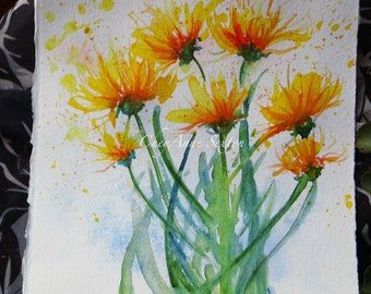 Watercolour Coreopsis flower art - Mothers Day gift  ORIGINAL watercolour 7x7