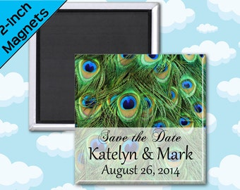 Peacock Feather Wedding Favors Magnets - 2 Inch Squares - Set of 10 Magnets